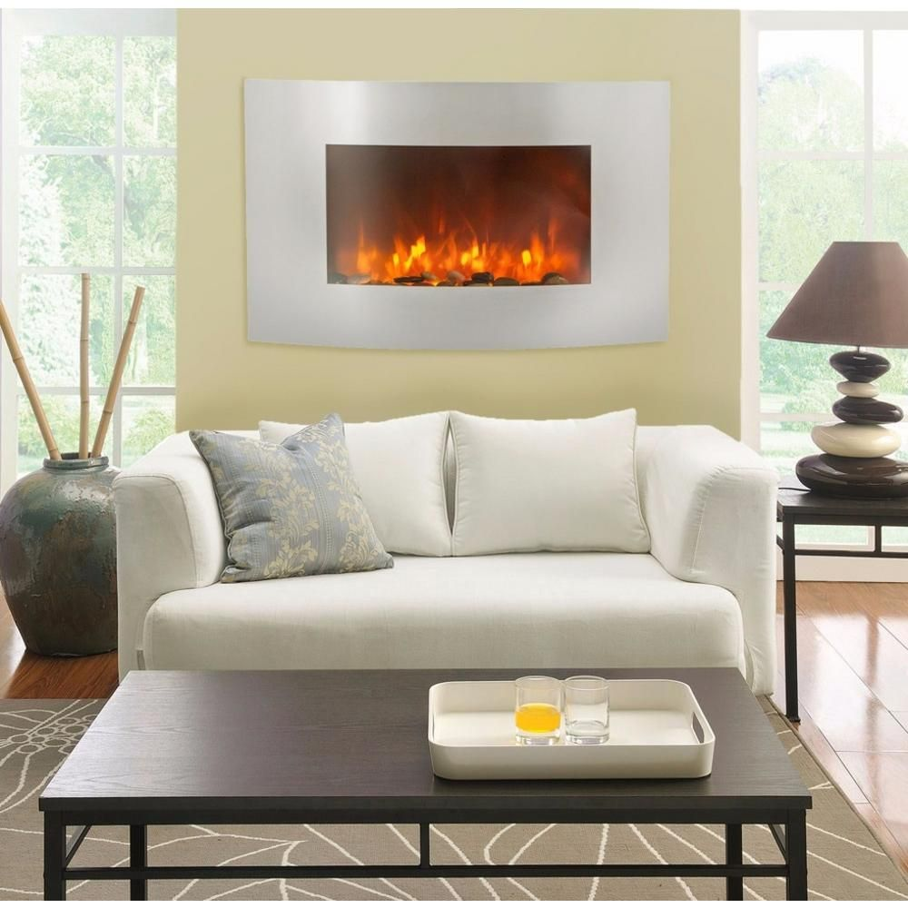Xtremepowerus 35 In 1500 Watt Electric Wall Mount Fireplace