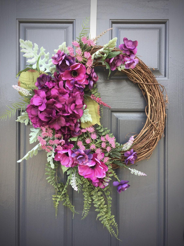 Hydrangea Wreath Spring Door Wreaths Spring Door Decor Purple