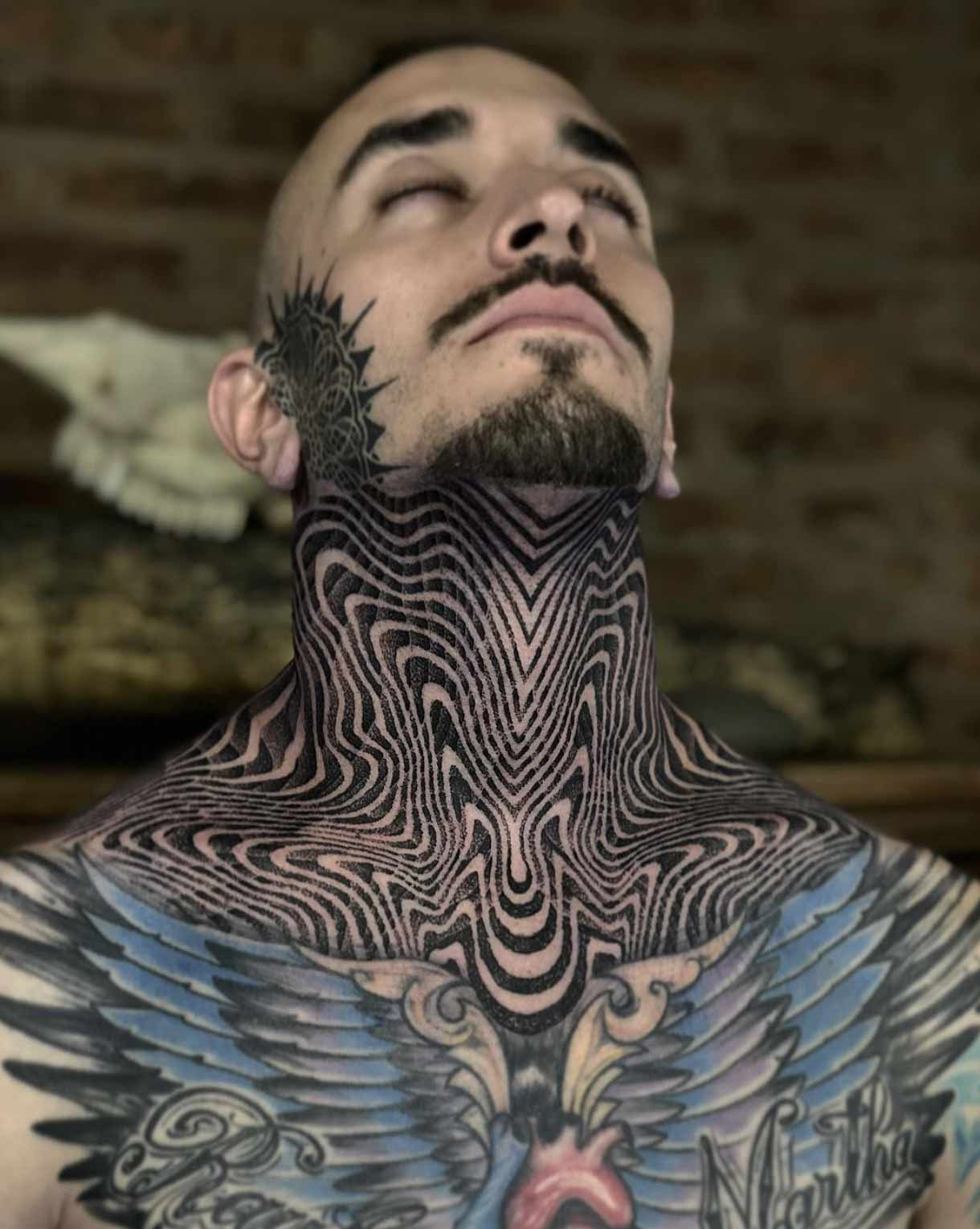 Geometric Neck Tattoo In 2020 Tattoos For Guys Neck Tattoo Neck Tattoo For Guys