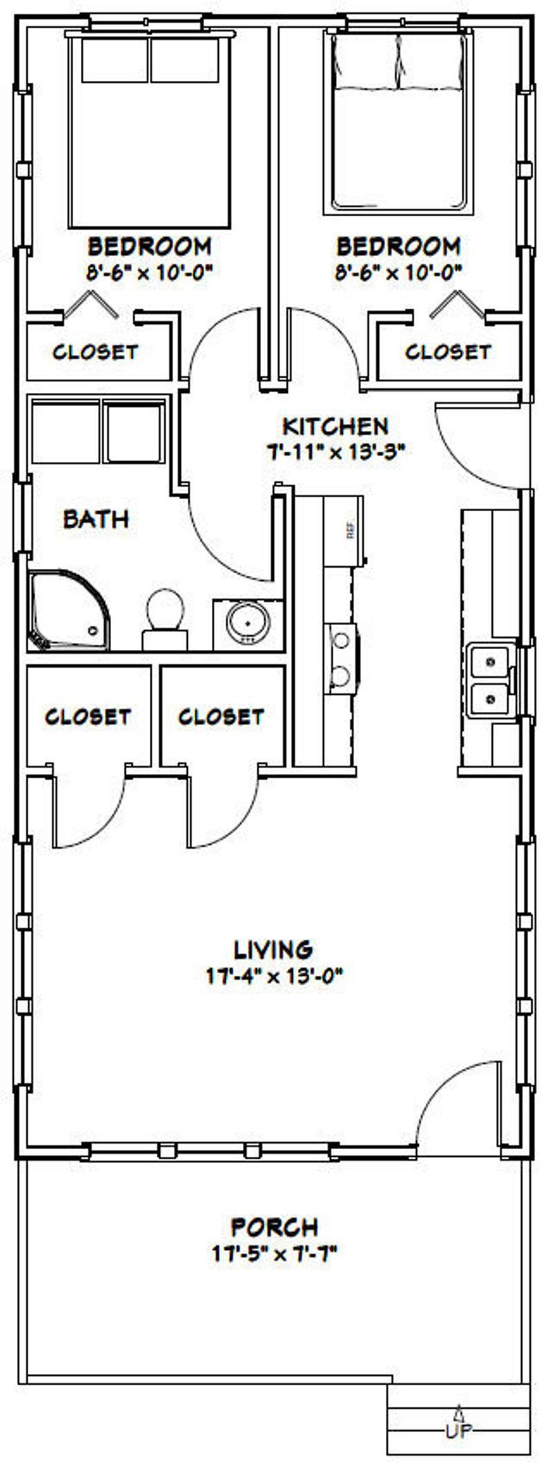 18x40 House 2Bedroom 1Bath 720 sq ft PDF Floor