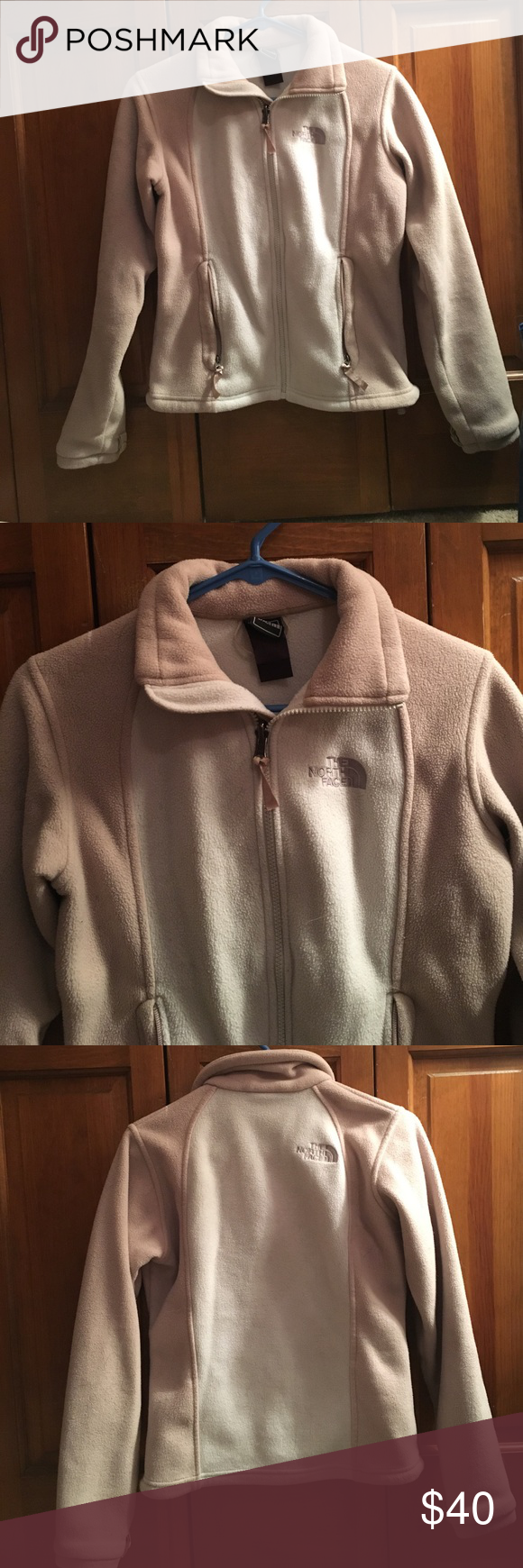 North Face Jacket Cream and tan North Face zip up jacket. Two front pockets. Slight wear. Size XS. North Face Jackets & Coats