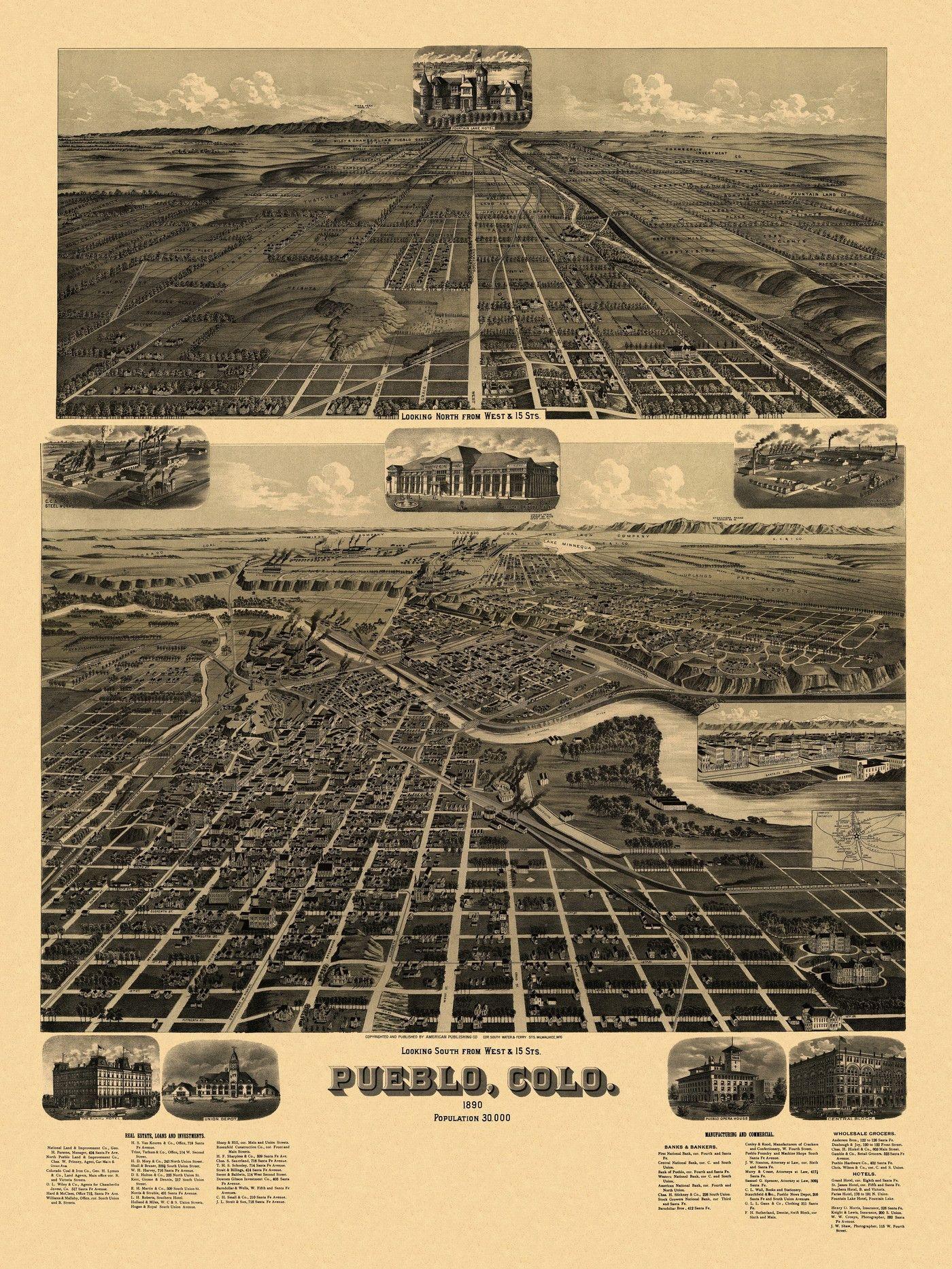 Antique Map Of Pueblo Colorado 1890 Pueblo County Colorado History