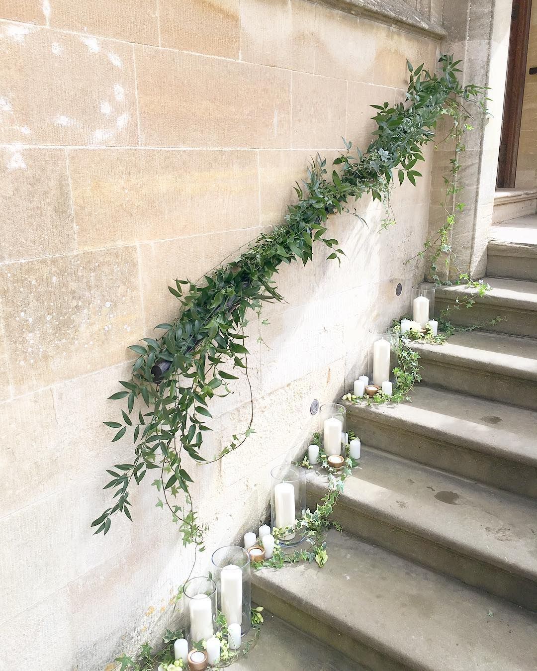 Foliage Staircase Garland And Pillar Candles