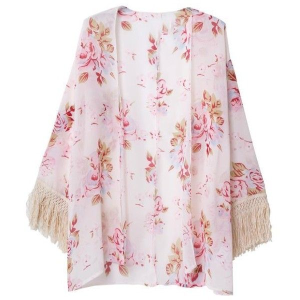 LUCLUC Floral Printed Long Sleeve Kimono With Tassels ($22) ❤ liked on Polyvore featuring outerwear, jackets, kimono, cardigans, lucluc, floral print jacket, floral kimono, floral tassel kimono, long sleeve jacket and tassel kimono