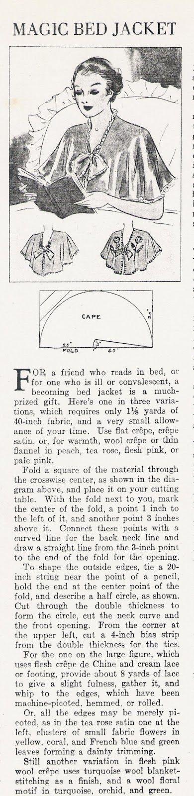 Free Vintage Bed Jacket Sewing Pattern and Tutorial | Scarf ...