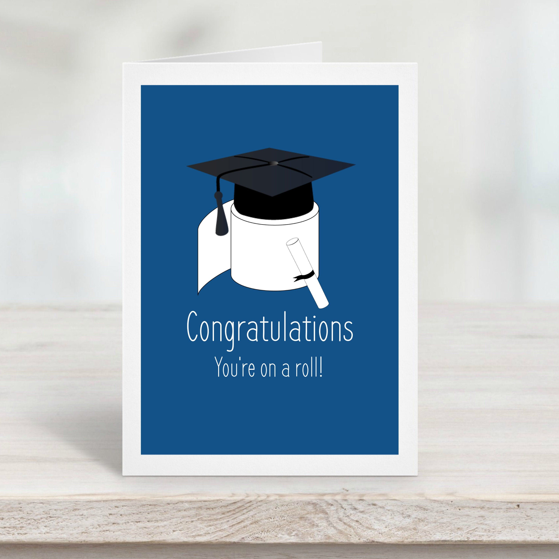 Graduation card template 2020 graduation cap blue funny