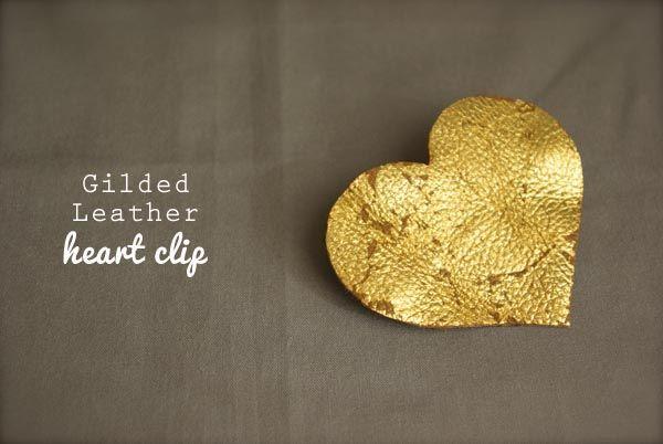 DIY Gilded Leather Heart Clip