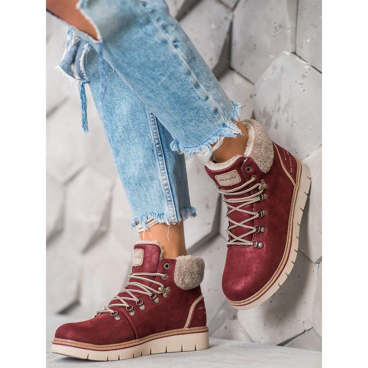 Mckey Zamszowe Trapery Czerwone Boot Shoes Women Suede Boots