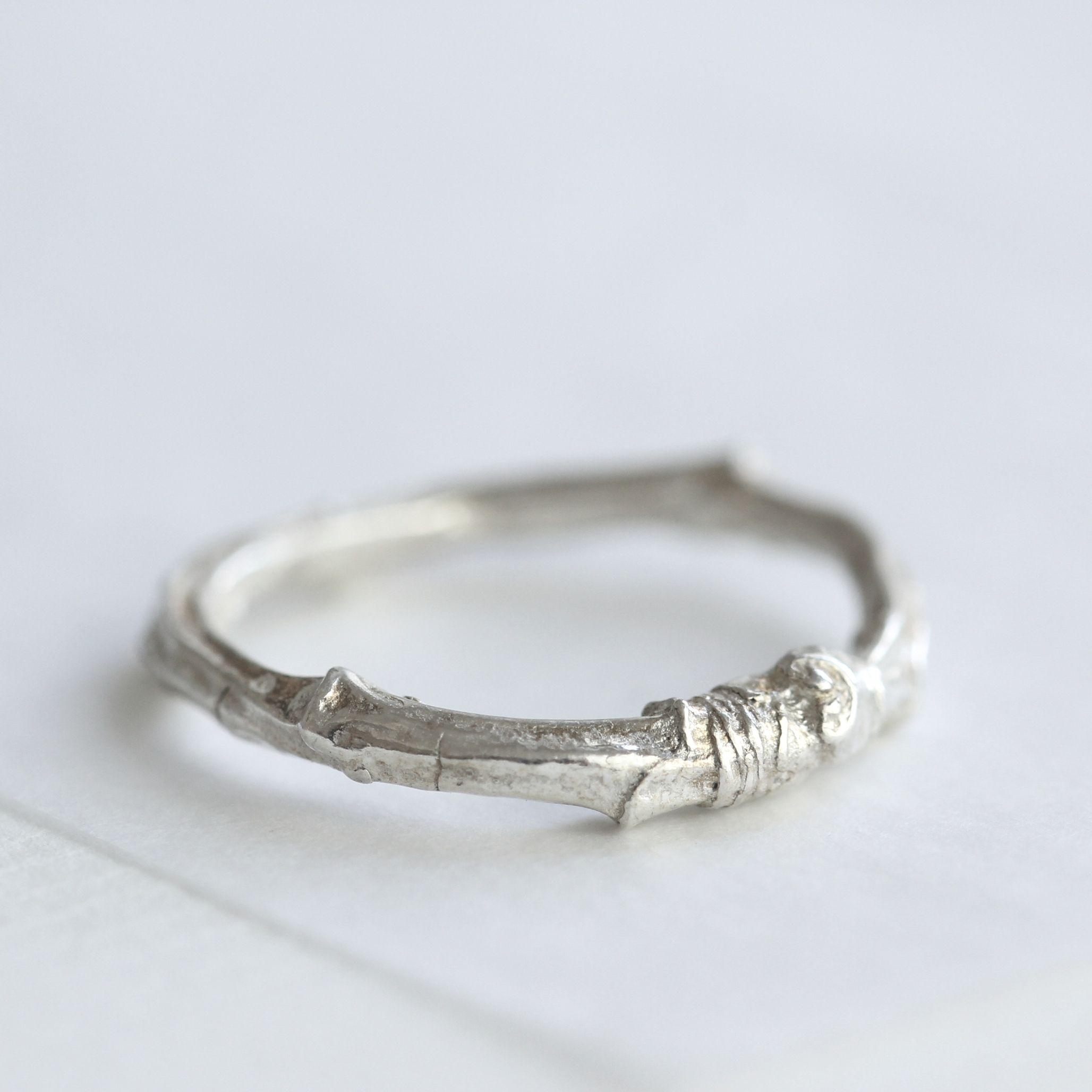 Silver twig ringtwig wedding ringcherry tree twig ring Twig ring