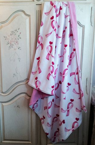 Adult Pink Ribbon Breast Cancer Awareness Blanket Quilt