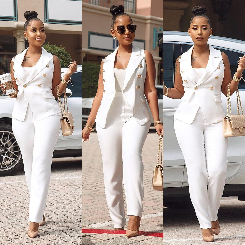 Women Summer Formal Pant Suit Sleeveless Blazer Jacket And Pants 2 Piece Sets Womens Office Work