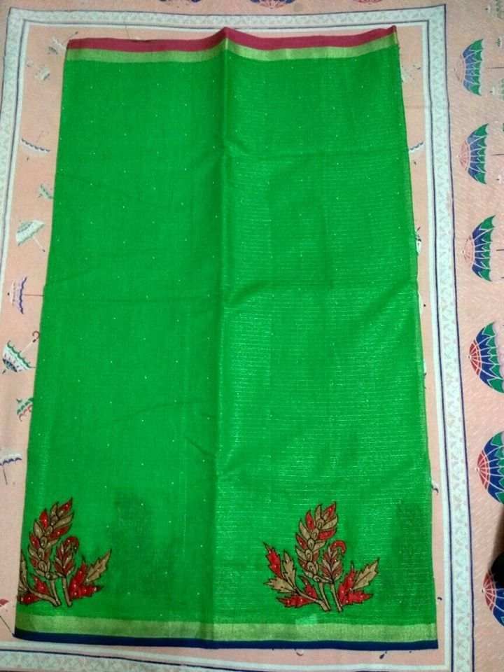 Stand out by wearing this latest kota sarees with applique work . Kota sarees are ever green these are exclusively design...