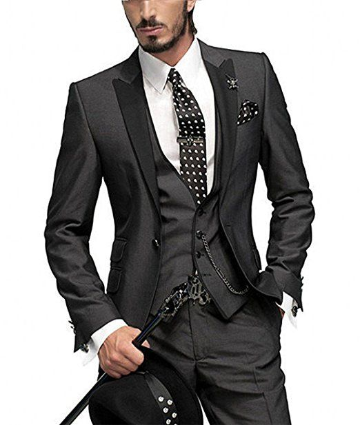 Pretygirl Mens Slim Fit One Button Groom Best Man Peak Groomsmen Men Wedding Suits 36US