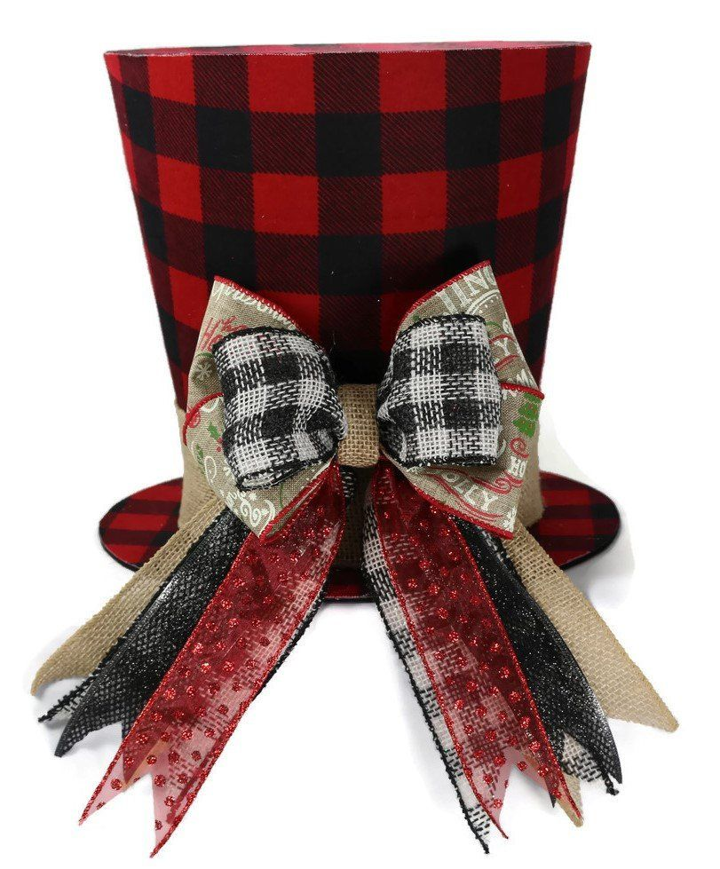 Rustic Christmas tree topper Shabby Chic plaid Christmastree | Etsy -   14 rustic christmas tree topper burlap bows ideas