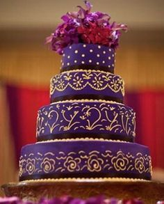 Wedding Cake Purple Gold Google Search