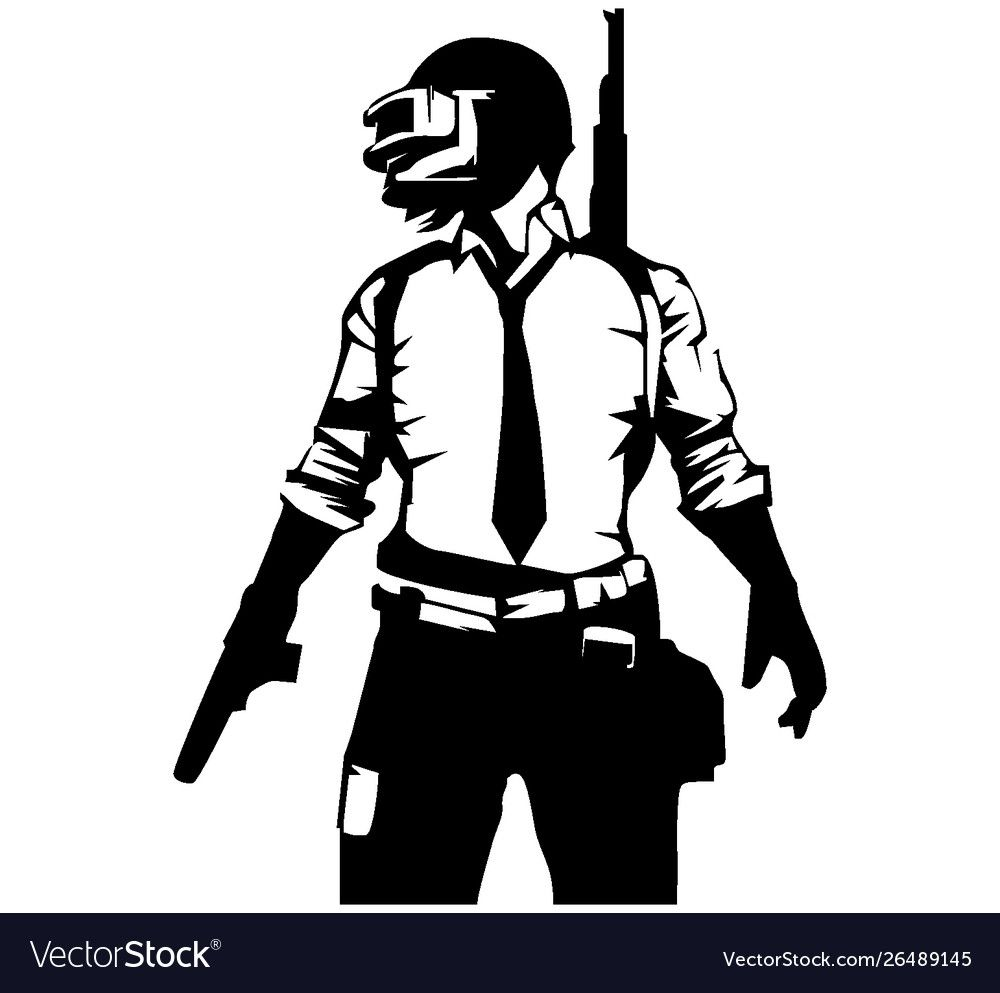 Pubg Player Black And White Image Vector Image On Vectorstock White Image Black And White Drawing Black And White Sketches