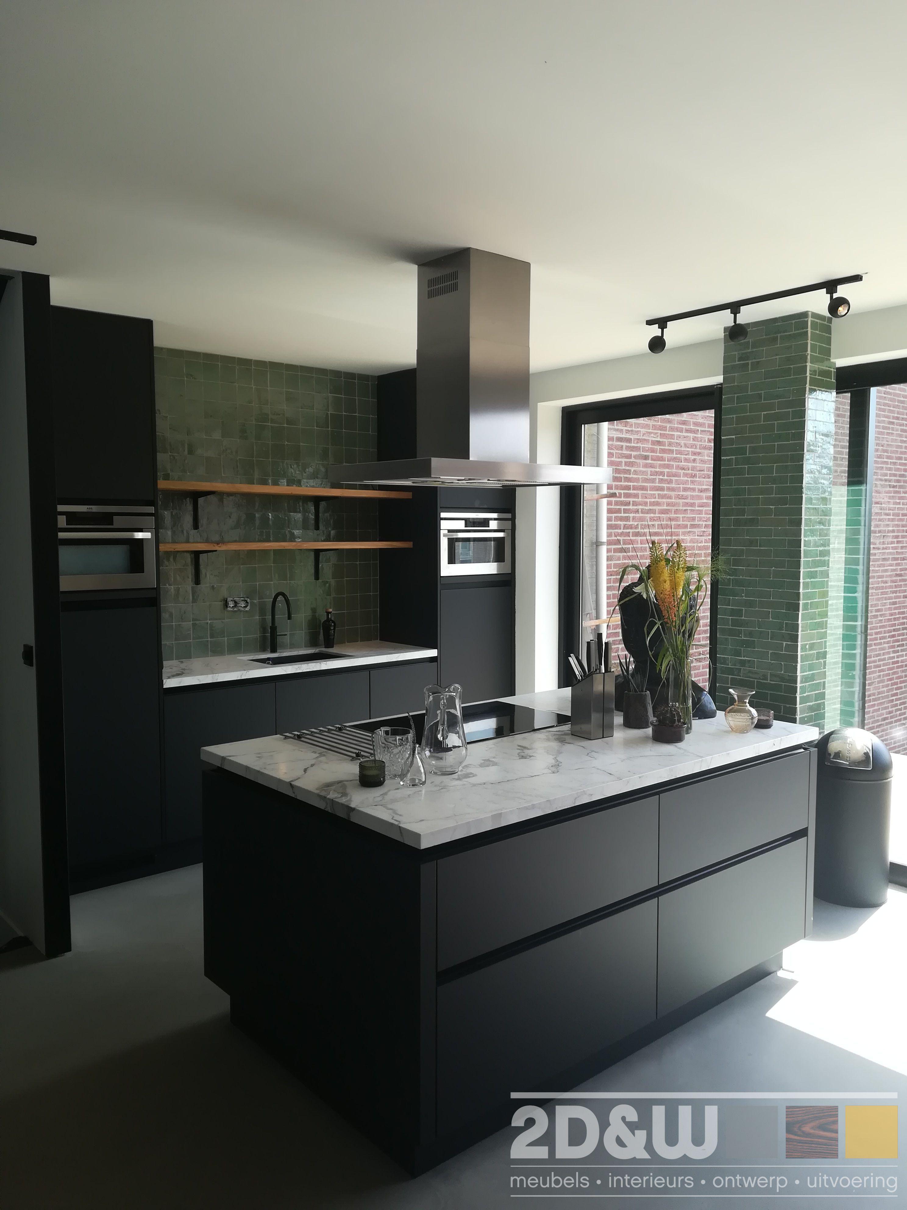 Keuken met kookeiland Mat zwarte