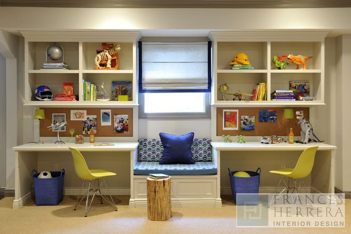 desks separated by a window seat- perfect for desks on a wall with a