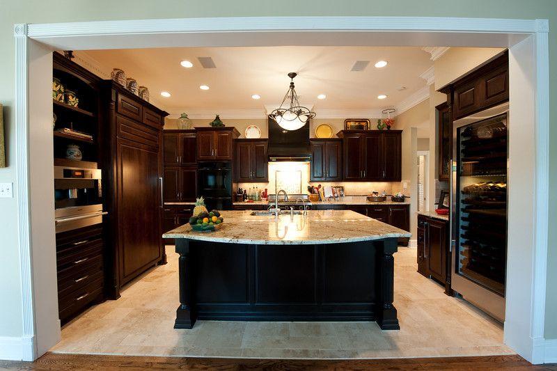 Newcreationsaustin.com Austin Kitchen Remodel   Granite Counter Tops, Dark  Wood Cabinets, Travertine Flooring, Overhead Lighting   New Creations Austin  ...