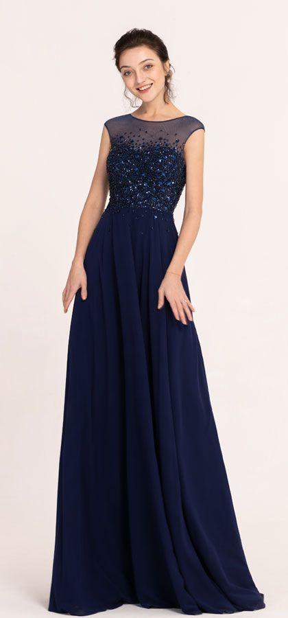 Sparkle Beaded Navy Blue Modest Prom Dresses Long Cap Sleeves