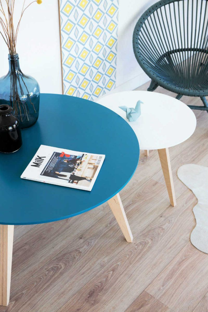 Table Basse Scandinave Gigogne.Tables Basses Gigognes Scandinaves Bleu Petrole Et Blanc