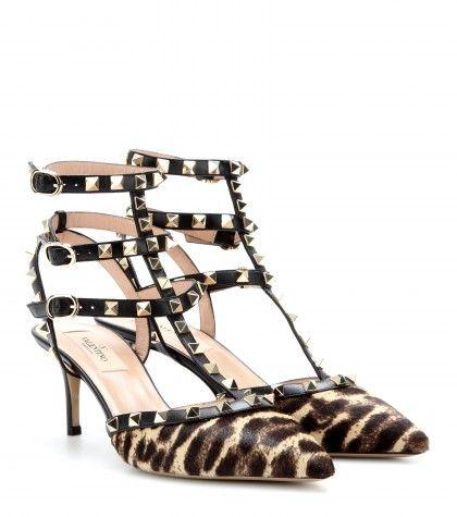 Valentino - Rockstud pony hair kitten-heel pumps  - mytheresa.com GmbH $1,195.00