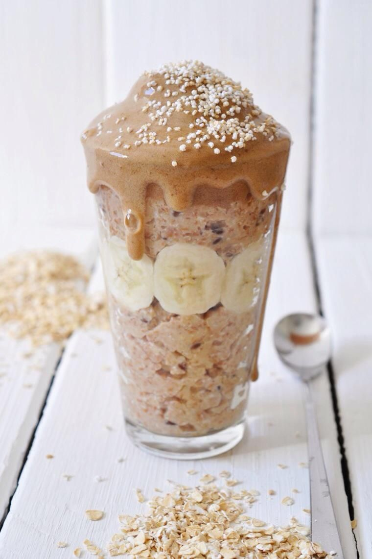 nads healthy kitchen | peanut-butter oatmeal with a nana-coffeecream