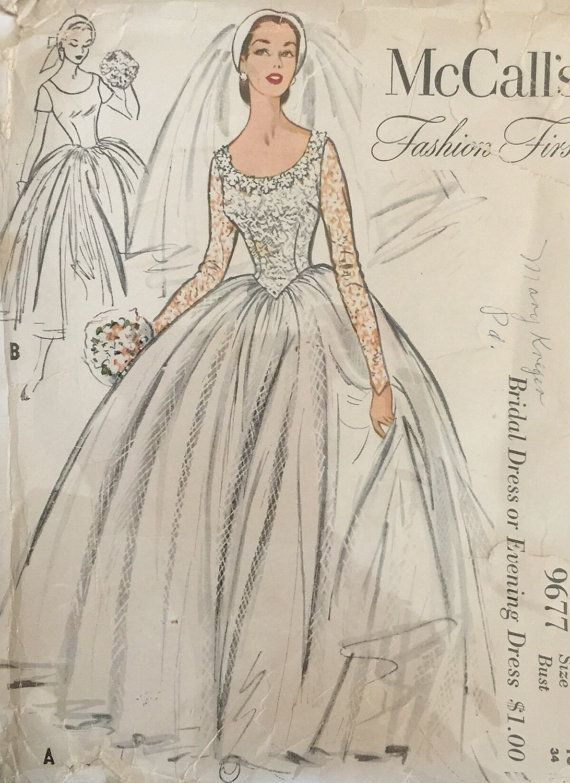 Vintage Sewing Pattern Mccall 39 S Pattern 9677 Classic Princess Bodice Wedding Ev Vintage Wedding Dress Pattern Bridal Sewing Patterns Wedding Gown Patterns,Mothers Bride Wedding Dresses