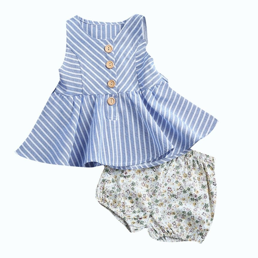 US 2PCS Toddler Girl Floral Striped Top Skirt+Shorts Outfits Set Sunsuit Clothes