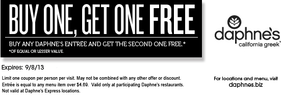 Bungalow 9 Restaurant Coupons Deals Discounts: DAPHNE'S $$ Coupon For BOGO FREE Entree