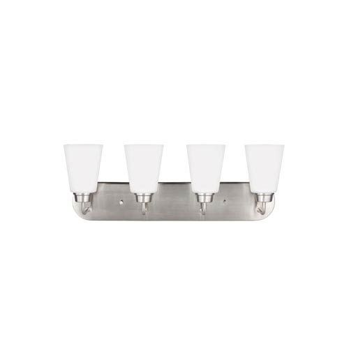 Photo of 251 First Whitter Four-light bathroom fitting made of brushed nickel – brushed, contemporary and modern   Bellacor