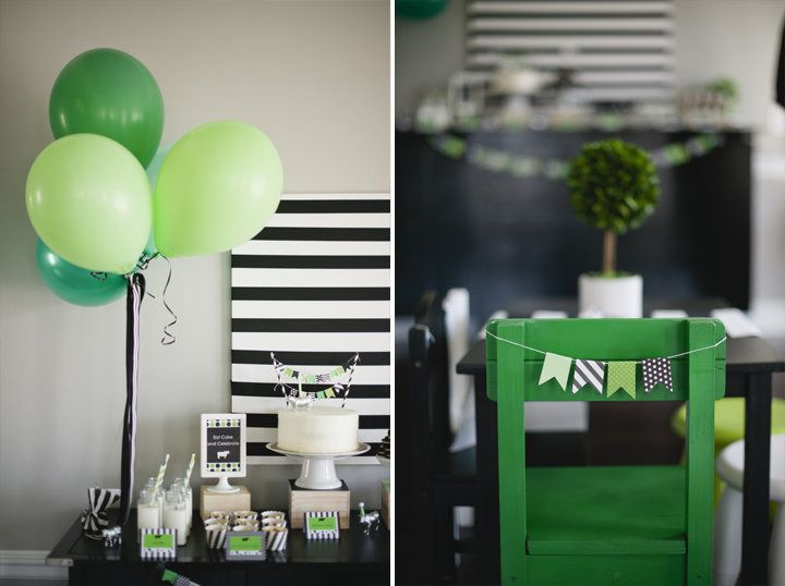 #balloon, #party-decor, #green  Photography: Melissa Oholendt Photography - melissaoholendt.com Event Styling: Live the Fancy Life - livethefancylife.com  Read More: http://www.stylemepretty.com/living/2013/06/03/modern-stripes-dots-cow-birthday-party-from-live-the-fancy-life/