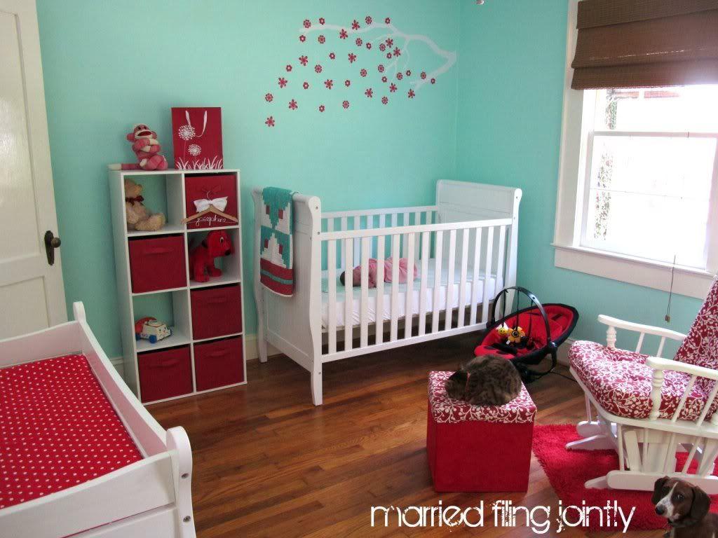 My red and aqua nursery #red #aqua #nursery #baby