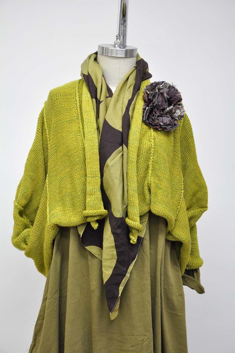 Bubble Scarf in Silk/Wool, Citron