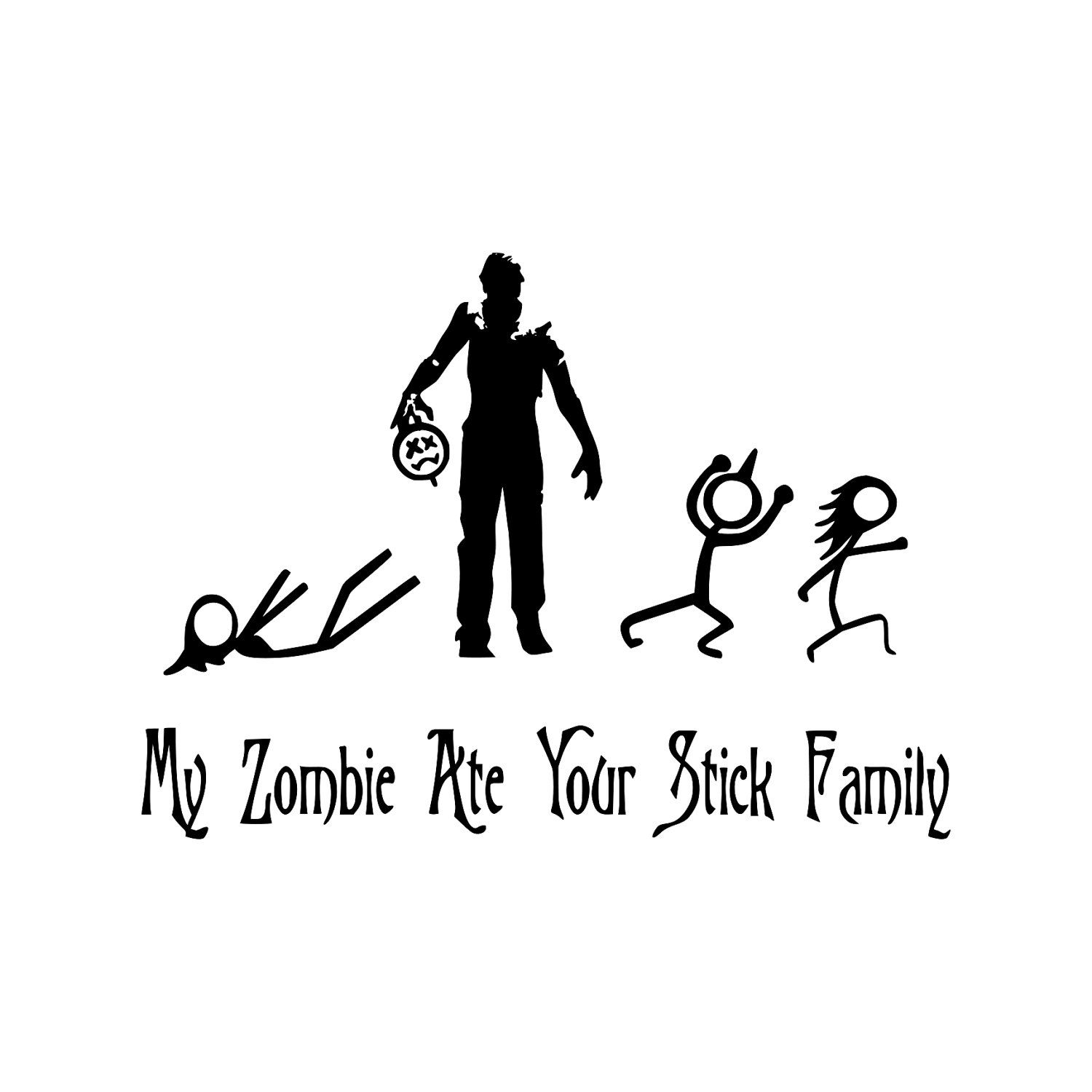 My Zombie Ate Your Stick Family Car Decal You Choose Color - Family car sticker decalsfamily car decal etsy