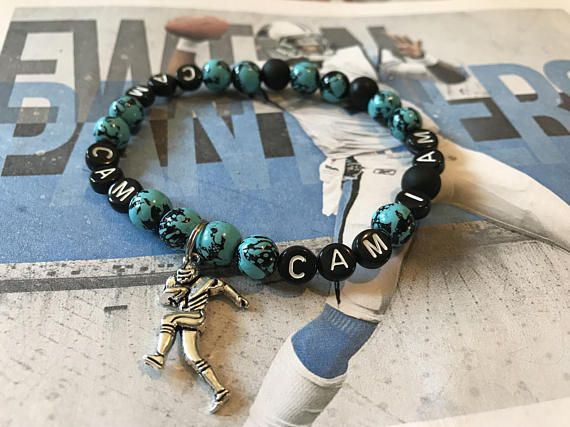 Carolina Panthers Cam Newton Bracelet With Charm Keep Pounding Football Jewelry Nfl