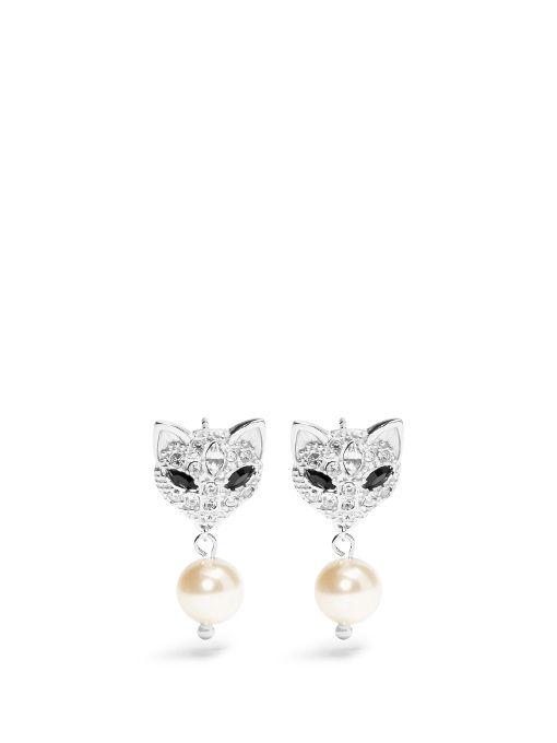 e71d2fc9fb8 MIU MIU Cat crystal-embellished earrings.  miumiu  earrings