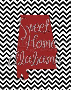 Alabama Roll Tide Roll With Images Sweet Home Alabama Chevron Art Print Chevron Art