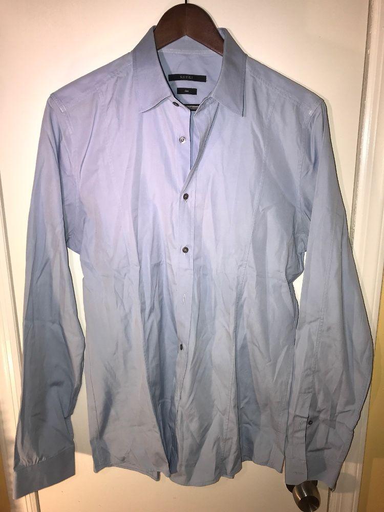 c27bb4288ee Gucci Mens Slim Cotton Blend Button Down Dress Shirt Blue 40 15 3 4 ...