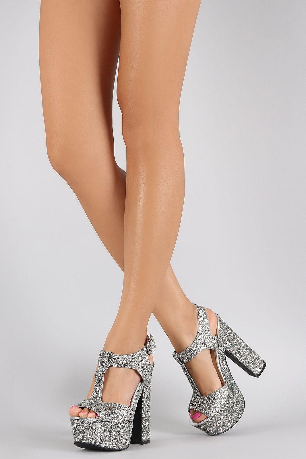 Chunky Glitter Heels Heels Zone