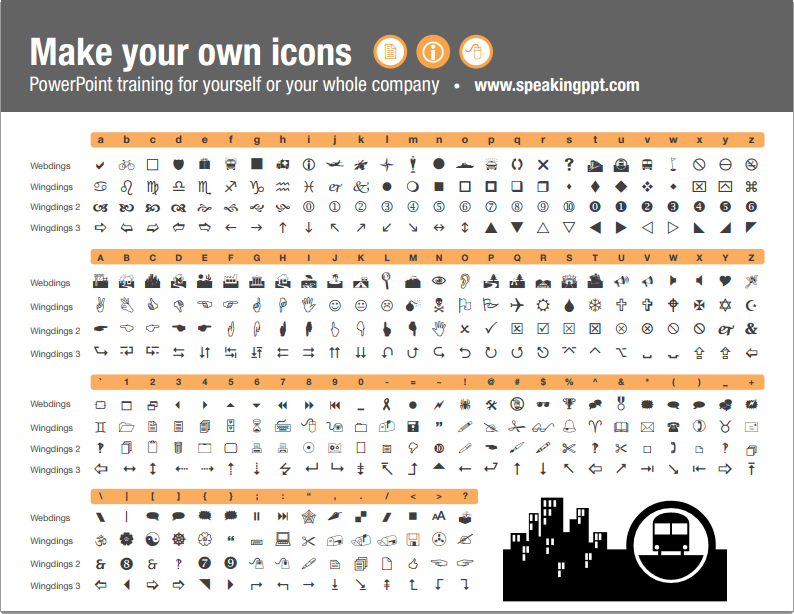 Webdings/Wingdings. Which keys to press. Usefull PDF
