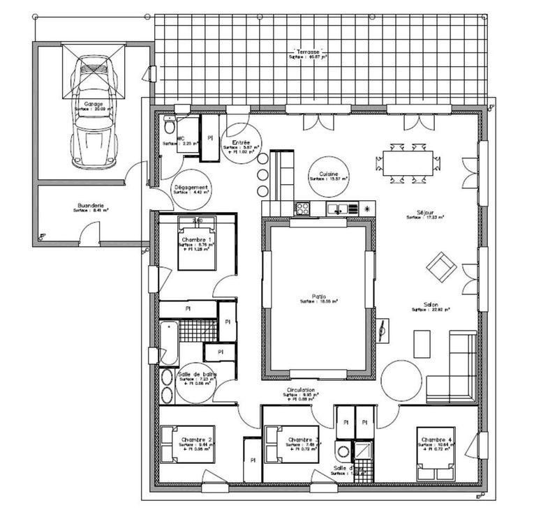 Plan Maison Plain Pied Avec Patio Interieur   House Home