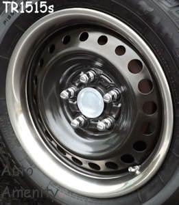 Black Steel Wheels With Stainless Steel Trim Ring Steel Wheels Black Steel Wheels Rims For Cars