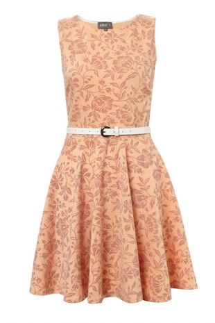 Floral Flocked Skater Dress on Womens Clothing