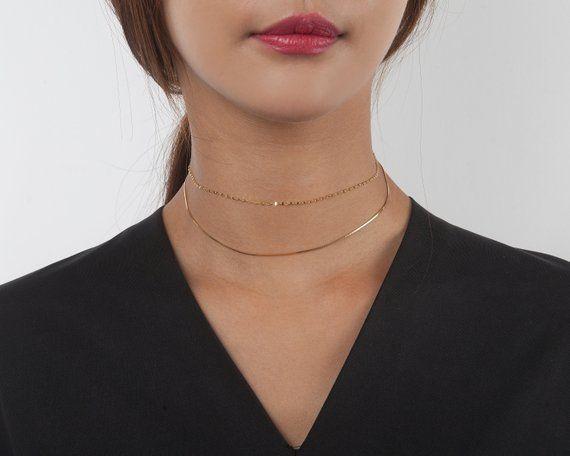 90bca438b1559 925 Silver - Gold Box Chain Choker Necklace, Sterling Silver ...