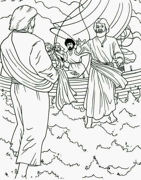 Jesus Camina Sobre El Mar Paginas Para Colorear De Biblia