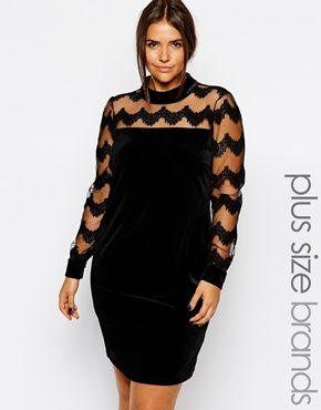 6017df60b1c Junarose Velvet Dress With Lace Sleeve And Yoke. Junarose Plus Size ...