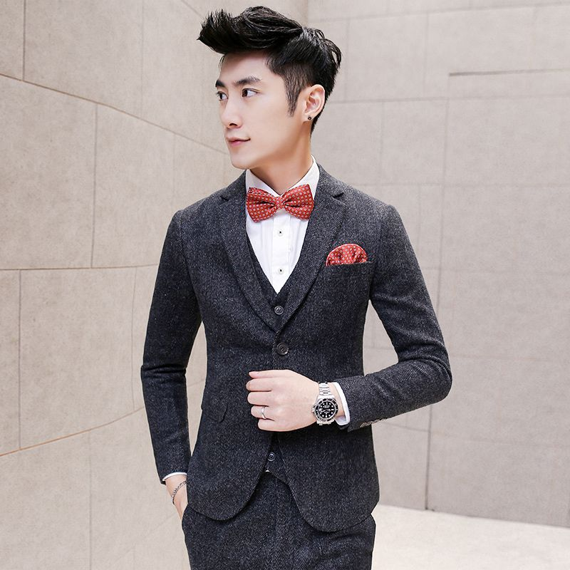 Free Shipping] Buy Best Mens Tweed Suits Jackets Vintage Grey Slim ...