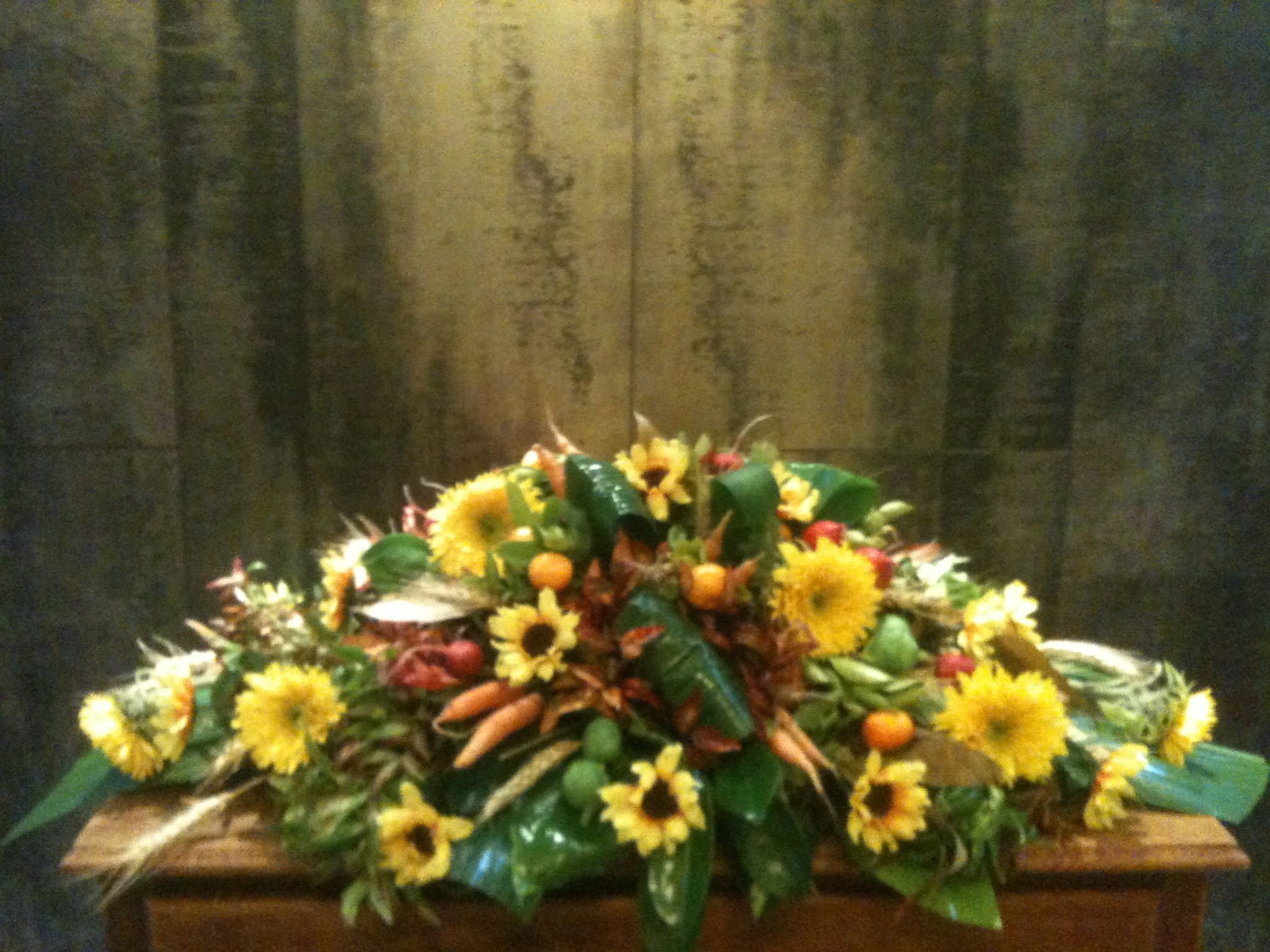 Funeral Spray Of Sunflowers And Vegetables By Karen Sweet Wattle