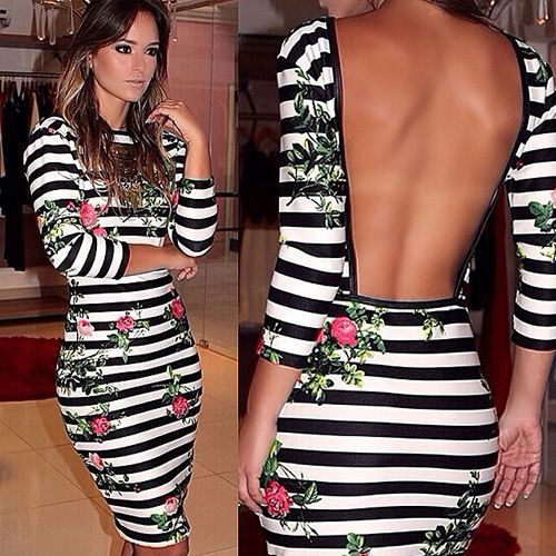 80c3b8104ef35 Image of [gzxy0970]Sexy Backless Slim Fit Floral Print Striped Dress